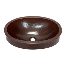 Oval Raised Profile Bathroom Copper Sink With Apron