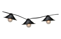 Black Metal Pendant Lantern Summer Garden Patio Lights, Black Wire