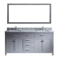 72-inch Double Bath Vanity In GreyMarble TopSquare SinkFaucetMirror