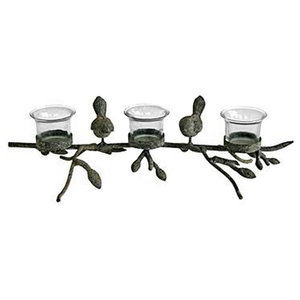 Chirpy Bird and Branch Triple Metal and Glass 3-Tea Light/Candle Holder, Black