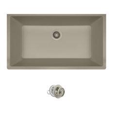 Large Single Bowl Quartz Kitchen Sink, Slate, Colored Strainer