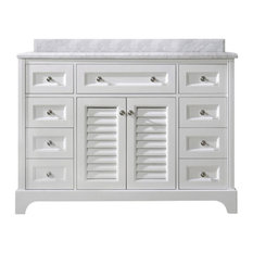 Madison Solid Wood Bathroom Vanity, White, Single, 48""