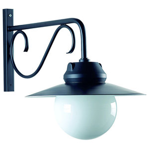 Outdoor Wrought-Iron Wall Light With Detailed Stem