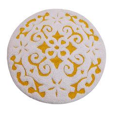 Saffron Fabs Bath Rug, Cotton, 36 Inch Round, 200 GSF, Damask Pattern, Yellow