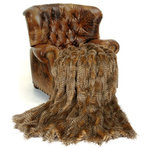 Fur Accents - Fur Accents Premium Faux Fur Throw Blanket Brown Feather Fur Minky Cuddle Lining - FUR ACCENTS llc