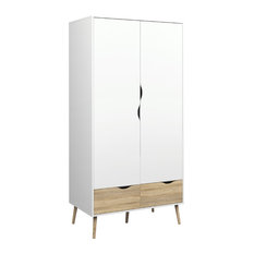 Diana 2-Drawer and 2-Door Wardrobe, White/Oak Structure