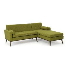 GDF Studio 2-Piece Sophia Mid Century Modern Fabric Sectional Sofa, Green