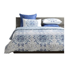 Tiffany Reversible Print Cotton Duvet Cover and Shams, 3-Piece Set, King