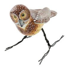 Novica Burrowing Owl Ceramic Figurine