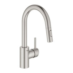 Grohe Concetto Single Hole Pullout Swivel Kitchen Faucet, Supersteel