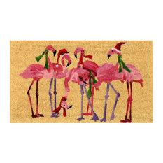 "Unbelievable Mats GA LLC - Unbelievable Mats 100% Coir Print Mat with Vinyl Backing, 18""x30"", Flamingo - Novelty Rugs"