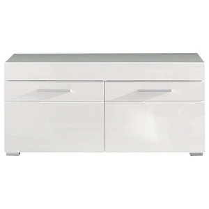 Modern Storage Cabinet, White High Gloss Finished MDF With 2 Doors and Shelves
