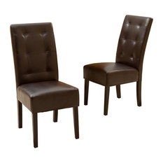 GDF Studio Haynes Brown Leather Dining Chairs Set Of 2