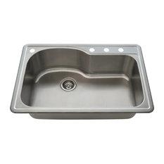 Kitchen Offset Single Bowl Topmount Sink - Stainless Steel