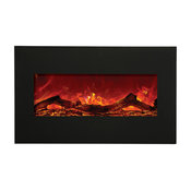 """Amantii Wall Mount Built-In Black Glass Electric Fireplace 34"""""""