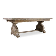 """Chatelet Refectory Rectangle Trestle Dining Table With Two 22"""" Leaves"""