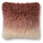 "Loloi - Loloi Decorative Throw Pillow Cover With Poly, Blush/Ivory, 22""x22"" - Ombre fade from blush to white. Faux Fur. 22""x22"". Made in China."