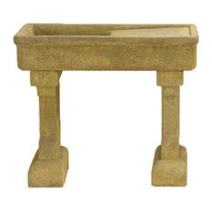 Rustic Outdoor Cast Stone Garden Sink, Iron (IR)