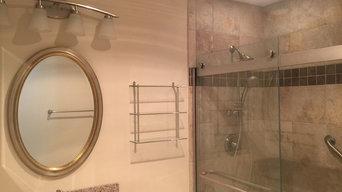 Tan Tile Full Bathroom Remodel
