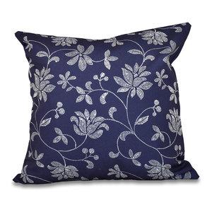 Gypsy Floral Floral Print Pillow E by design PFN556BL22BL20-20 20 x 20-inch Blue