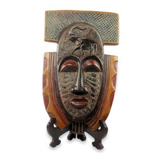 Novica Royal Elephant African Wood Mask and Stand