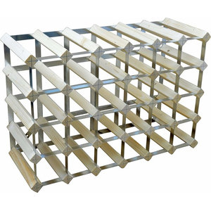 Contemporary Wine Rack, Light Oak Wood and Metal Frame, 30-Bottle Holder