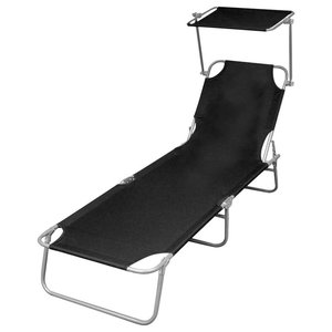 Outdoor Foldable Sunbed With Canopy, Black, 189x58x27 cm