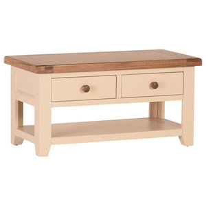 Champagne Painted Oak Coffee Table With Drawers and Shelf