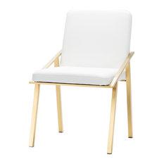 Nika Dining Chair, Seat: Matte White, Frame: Brushed Gold