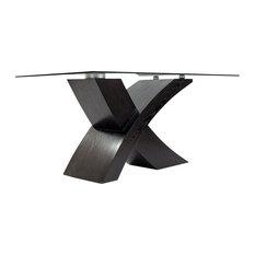 Valencia Large Tempered Glass, Wood Veneer Base Dining Table, Black, 200 cm