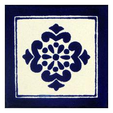 "4""x4"" Individual Piece Mexican Talavera Handmade Tiles, 100-Piece Set"
