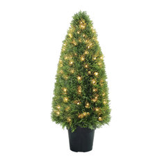 Upright Juniper Tree With Green Round Growers Pot With 50 Clear Lights, 36""