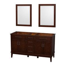 """Hatton 60"""" Dark Chestnut Double Bathroom Vanity, No Countertop, No Sink"""