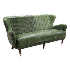 Keaton Leather Sofa, Emerald