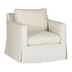 Gabby Hayes Slipcovered Swivel Chair, Cream Zulu Vanilla