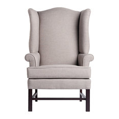 Comfort Pointe - Jitterbug Chippendale Wingback Chair, Linen, 27x30.25x44.75 - Armchairs and Accent Chairs