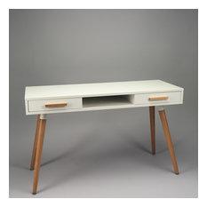 Retro White Desk With Oak Legs