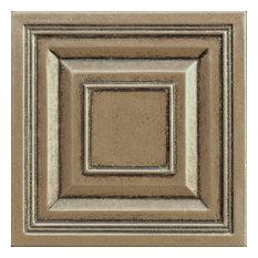 "4""x4"" Bronze Resin Decorative Insert Accent Piece Tile, Set of 4"