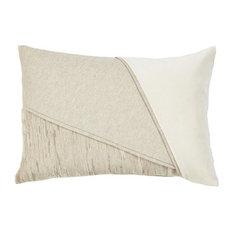Color Blocked Bone Velvet Lumbar Pillow