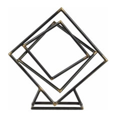 Tangled Squares Abstract Sculpture on Square Base - Gray - Small - Benzara