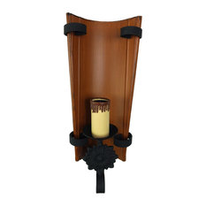 Rustiluz   Large Wrought Iron Wall Sconce, Brown   Wall Lights