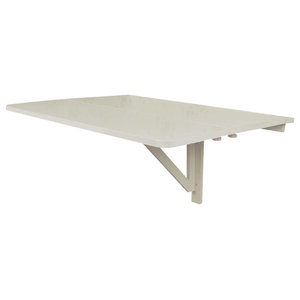 Folding Wall Mount Table, Painted Solid Wood Drop-Leaf Design for Space Saving