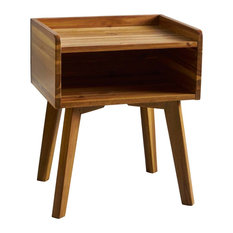 GDFStudio - Alanna Natural Stained Acacia Wood Nightstand - Nightstands and Bedside Tables