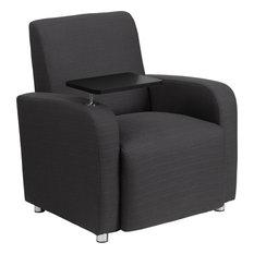Radisson Gray Fabric Chair With Tablet Arm, Chrome Feet