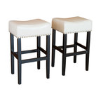Chantal Leather Stools, Set of 2, Ivory, Counter Height