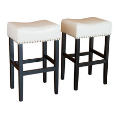 Gdfstudio Chantal Leather Stools Set Of 2 Ivory Counter Height Bar
