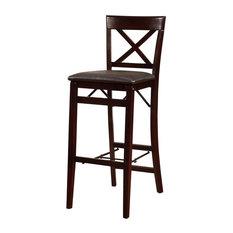 Triena X Back Folding Bar Stool 17W X 20D X 43H Espresso