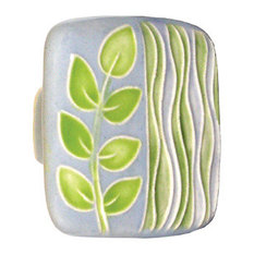Square Ceramic Branch and Seagrass Knob, Gray and Green