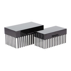 Modern Striped Wooden Boxes With Lid, 2-Piece Set