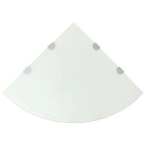 VidaXL Corner Shelf With Chrome Supports, Glass White, 45x45 cm